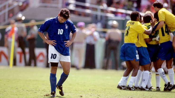Italy's Roberto Baggio missed his penalty during the shootout of the 1994 World Cup final against Brazil.
