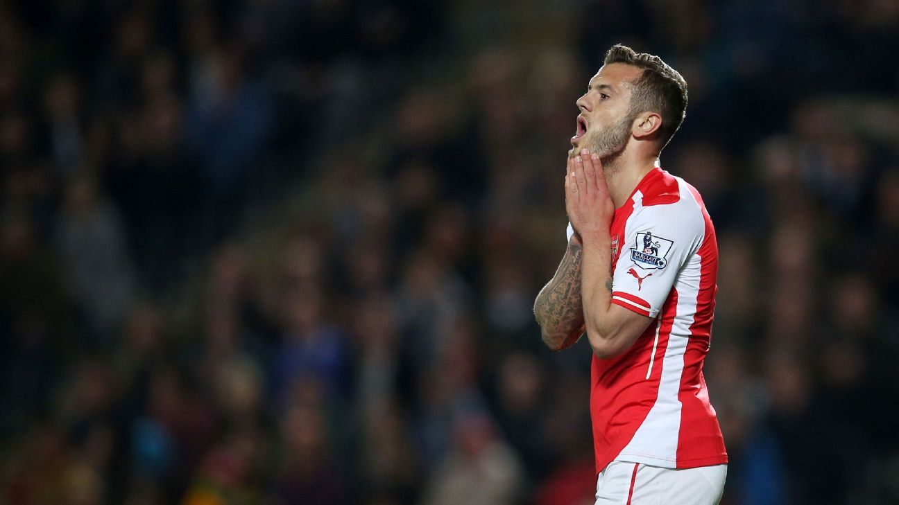 Arsenal's Jack Wilshere reacts