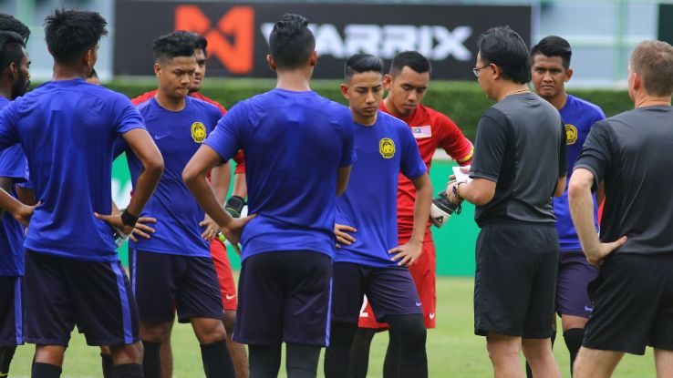 Malaysia U23 squad in Thailand with coach Ong