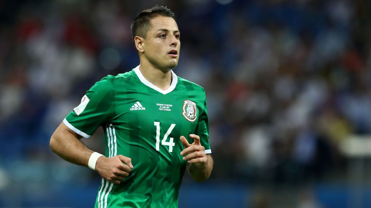 Javier Hernandez in action for Mexico against Germany at the 2017 Confederations Cup in Russia.