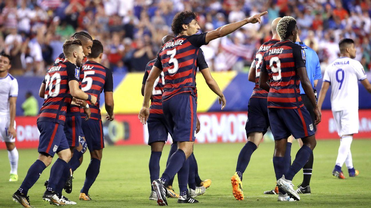 Omar Gonzalez celebrates after opening the scoring for the U.S. against El Salvador.
