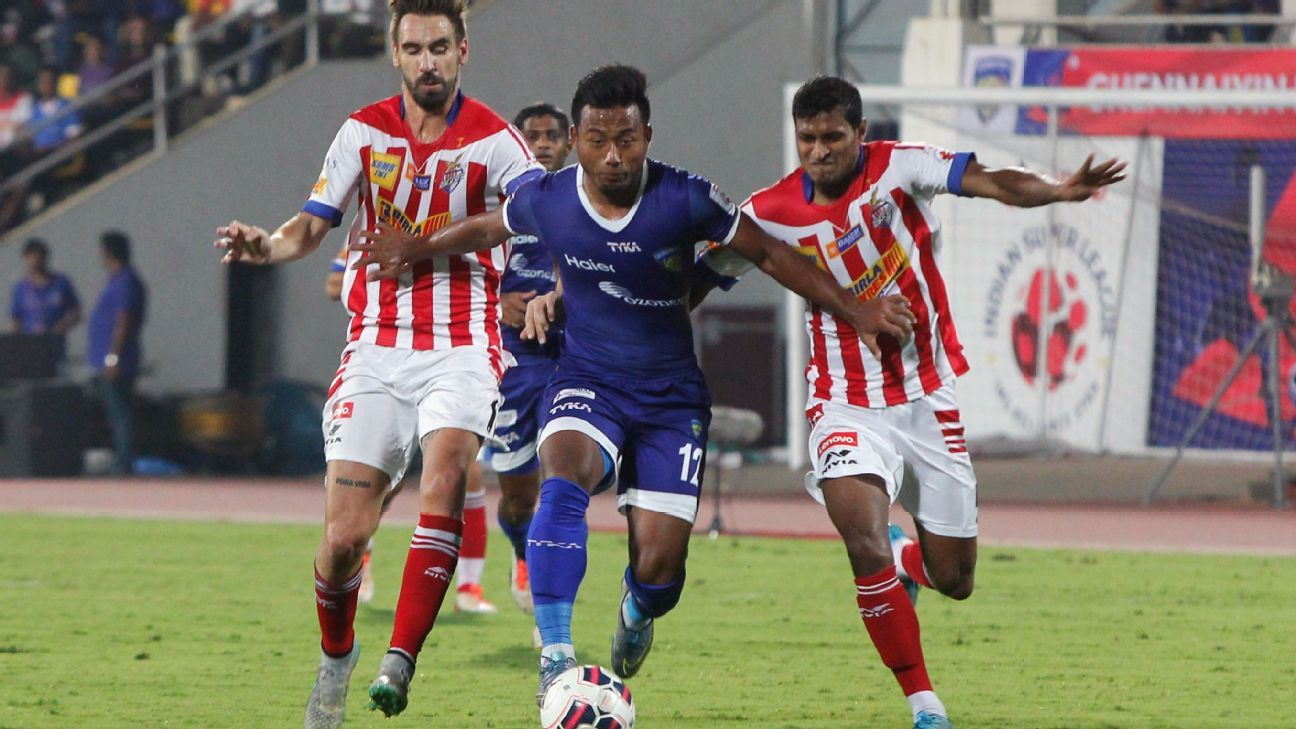 The ISL's top-scoring Indian Jeje Lalpekhlua (centre) of Chennaiyin FC is a product of the youth academy of former I-League club Pune FC.
