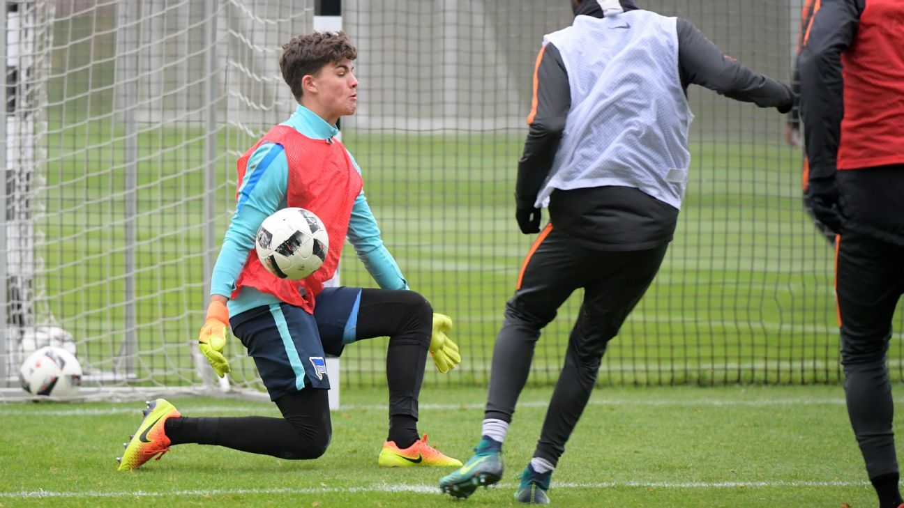 Luis Klatte has been helping Hertha Berlin's senior team because of an unlikely injury crisis among their goalkeepers.