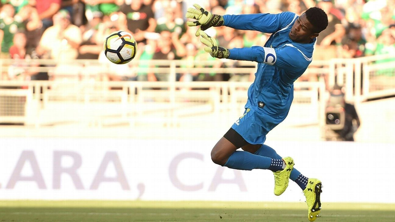 Andre Blake makes a save against Jamaica in his team's Gold Cup win against Mexico.
