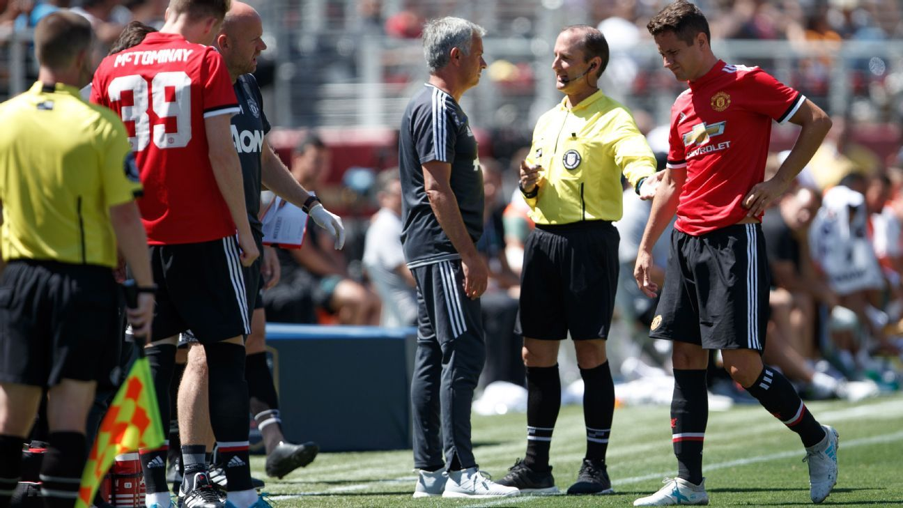 Ander Herrera goes off injured during the International Champions Cup 2017 match between Real Madrid and Manchester United.