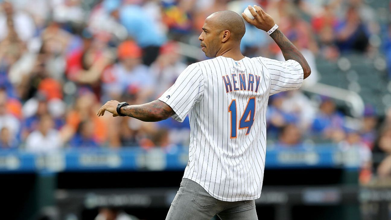 Thierry Henry threw out the first pitch at Citi Field with characteristic nonchalance