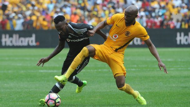Ramahlwe Mphahlele of Kaizer Chiefs challenges Mpho Makola of Orlando Pirates during theAbsa Premiership match between Kaizer Chiefs and Orlando Pirates  on the 04 March 2017 at FNB Stadium.