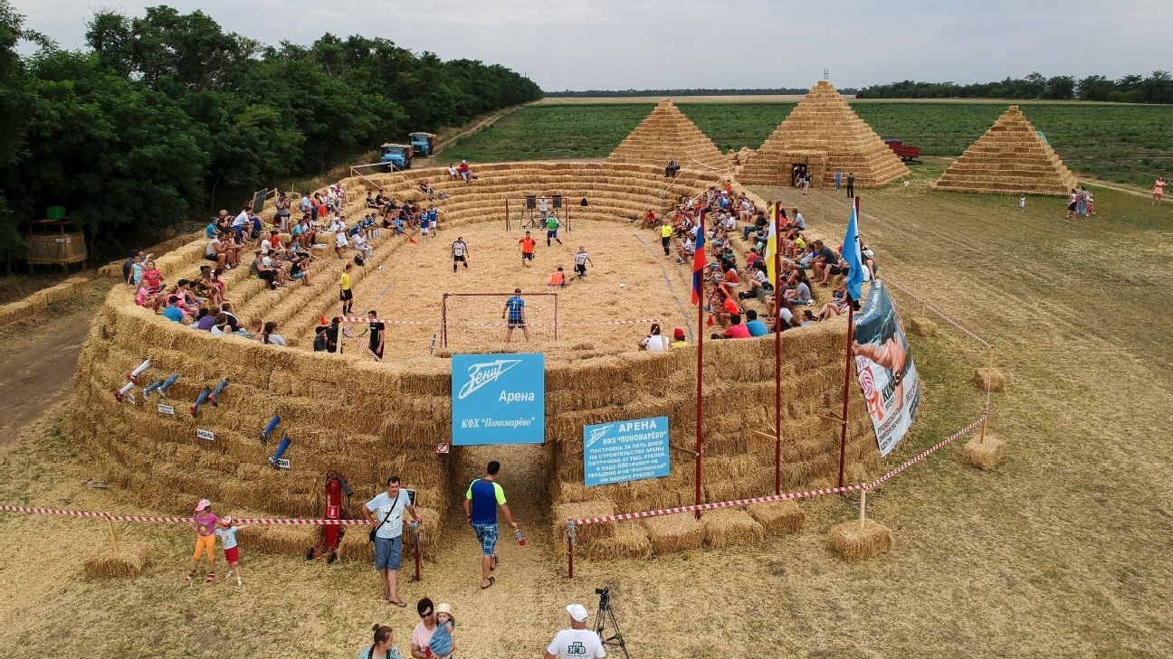 A farmer in Krasnoye, Russia built a football stadium entirely out of straw