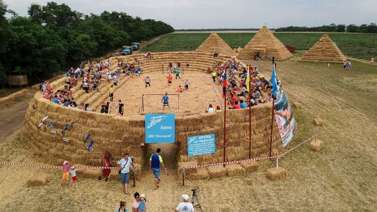 A farmer in Krasnoye, Russia built a football stadium entirely out of straw
