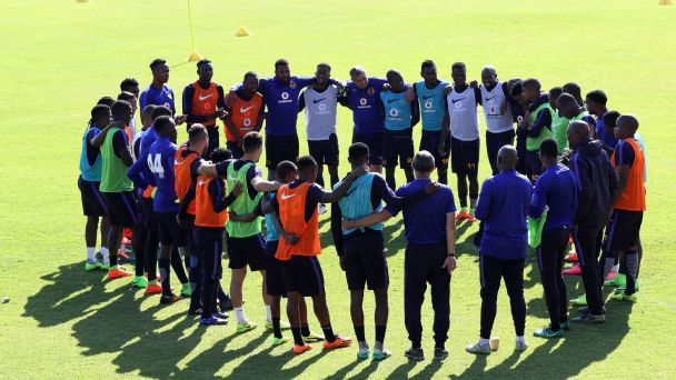 Kaizer Chiefs players before a training session at Chiefs Village in Johannesburg.