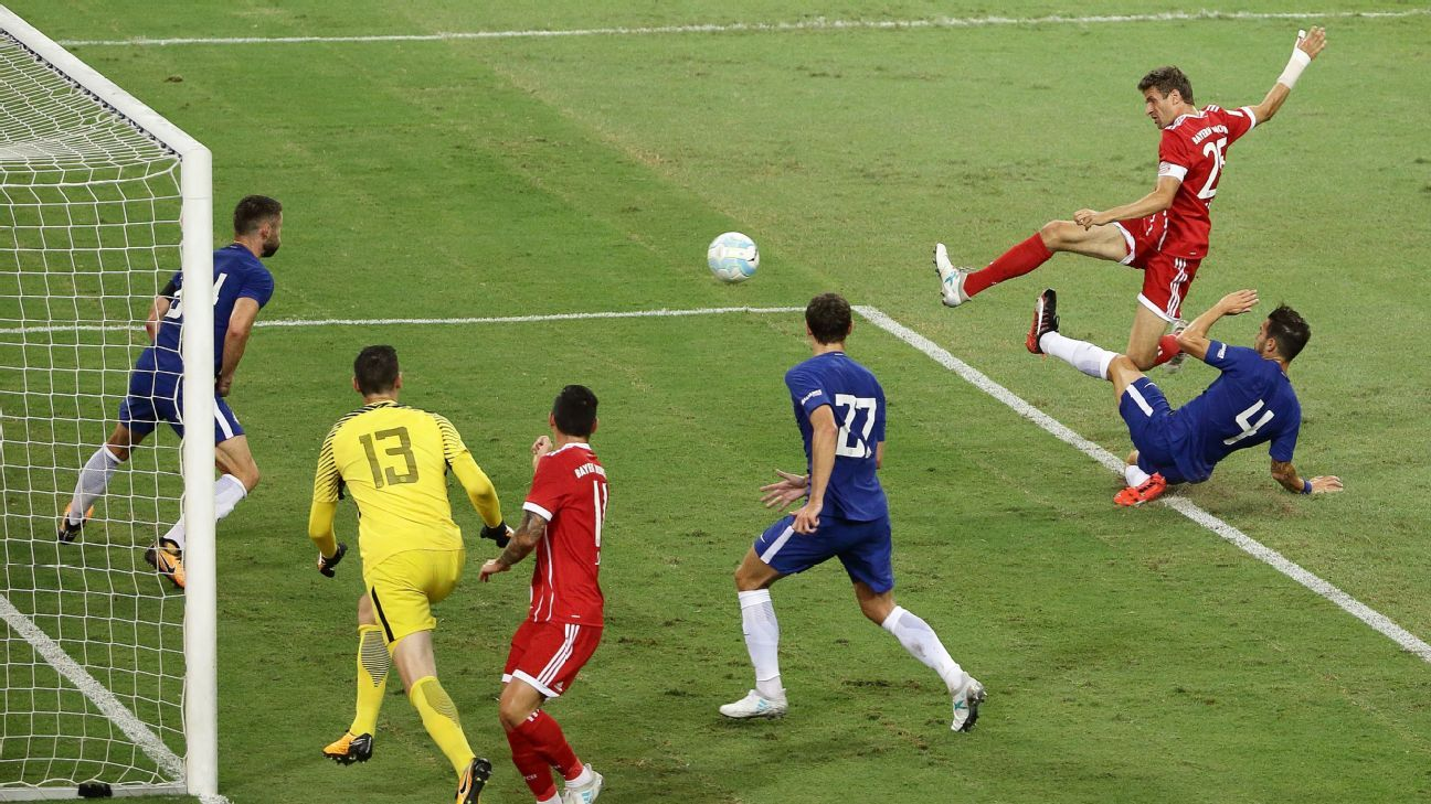 Thomas Muller scores his first goal against Chelsea.