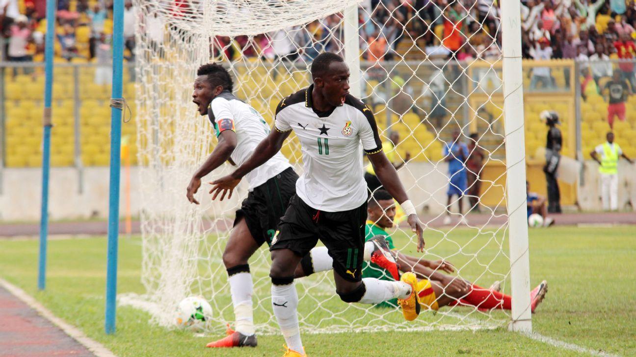Raphael Dwamena during the 2019 Afcon qualifier game between Ghana vs Ethiopia in Kumasi, Ghana on June 11, 2017