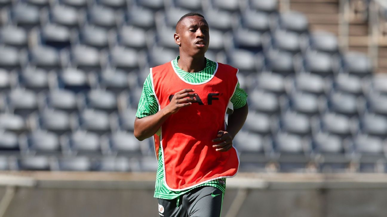 Siyabonga Nhlapo of South Africa during the 2018 CHAN Qualifier South Africa training session at the Orlando Stadium.