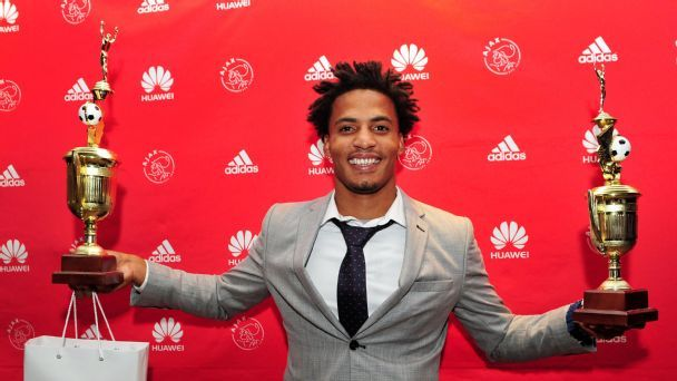 Rivaldo Coetzee of Ajax Cape Town with the Player of the Year Award and the Players Player of the Year Award during the Ajax Cape Town 2016/17 Awards at Lagoon Beach Hotel, Cape Town.