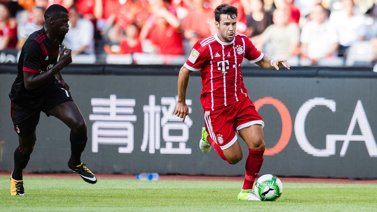 Juan Bernat in action for Bayern Munich against AC Milan in the 2017 International Champions Cup.