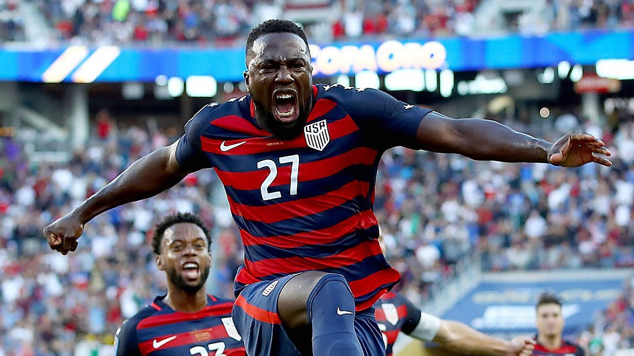 Jozy Altidore celebrates after scoring a goal for the U.S. in its Gold Cup win against Jamaica.