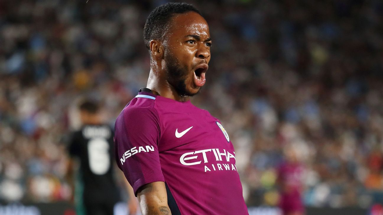Raheem Sterling celebrates after scoring a goal for Manchester City against Real Madrid.