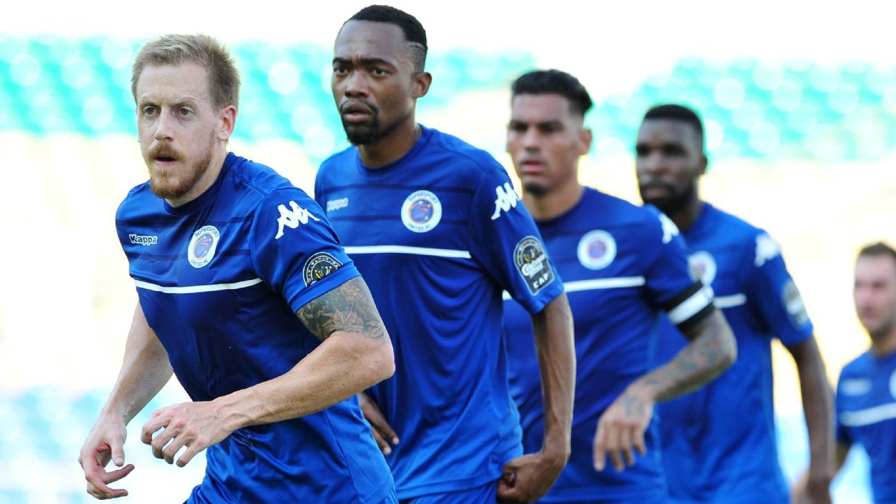 Michael Morton, Thabo Mnyamane, Clayton Daniels and Tefu Mashamaite of Supersport United