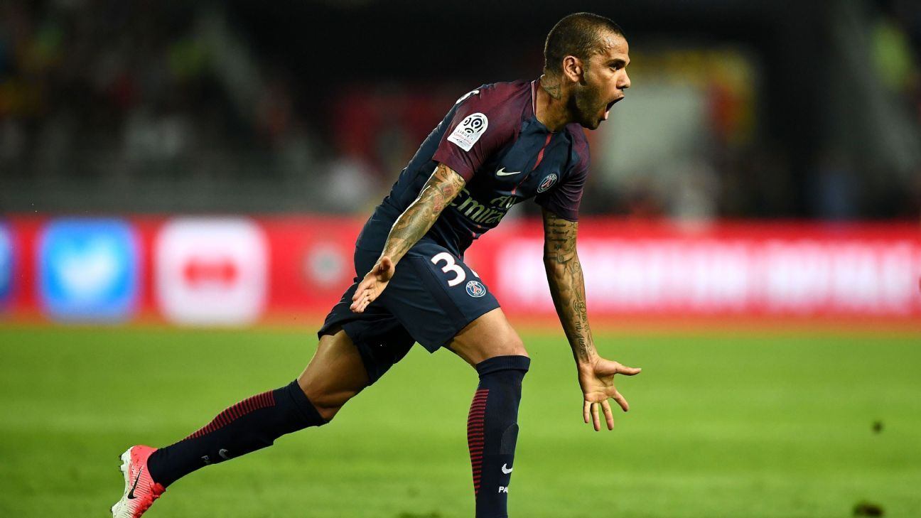 Dani Alves celebrates after scoring PSG's first against Monaco in the French Super Cup.