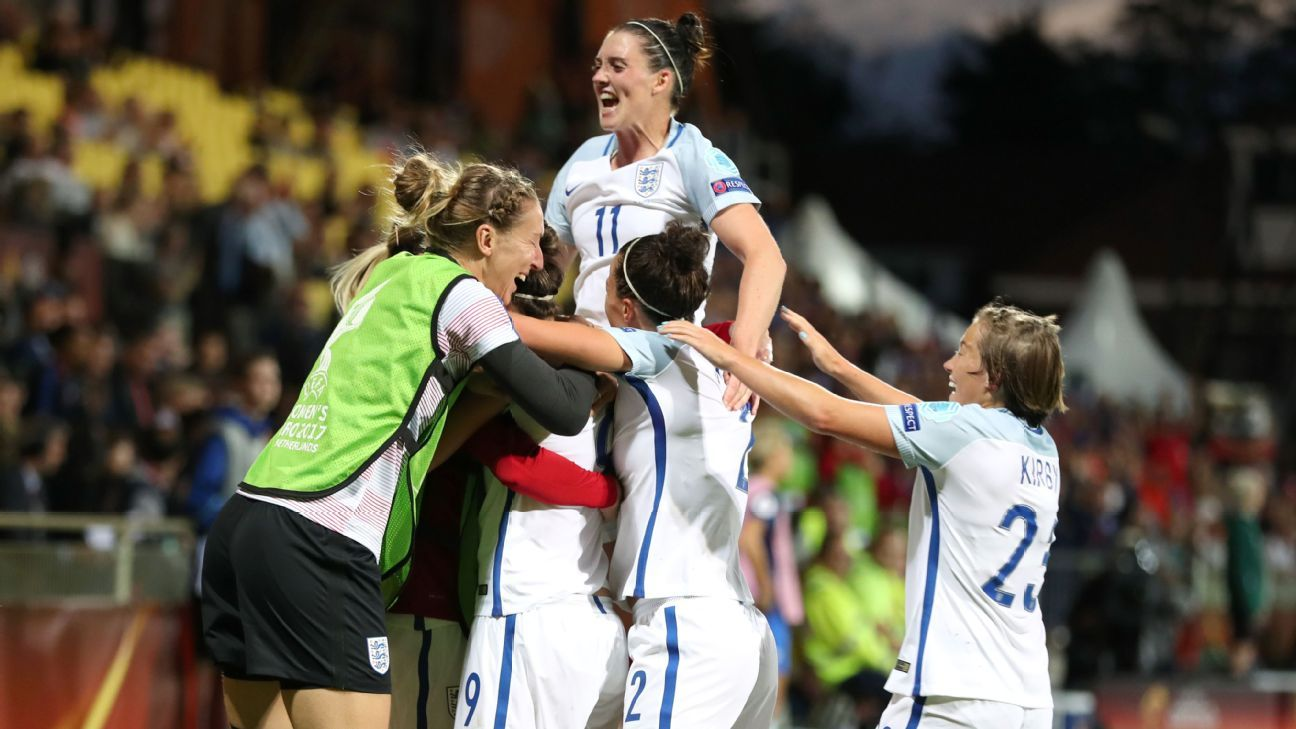 Jodie Taylor celebrates England's lone goal in Sunday's victory over France.
