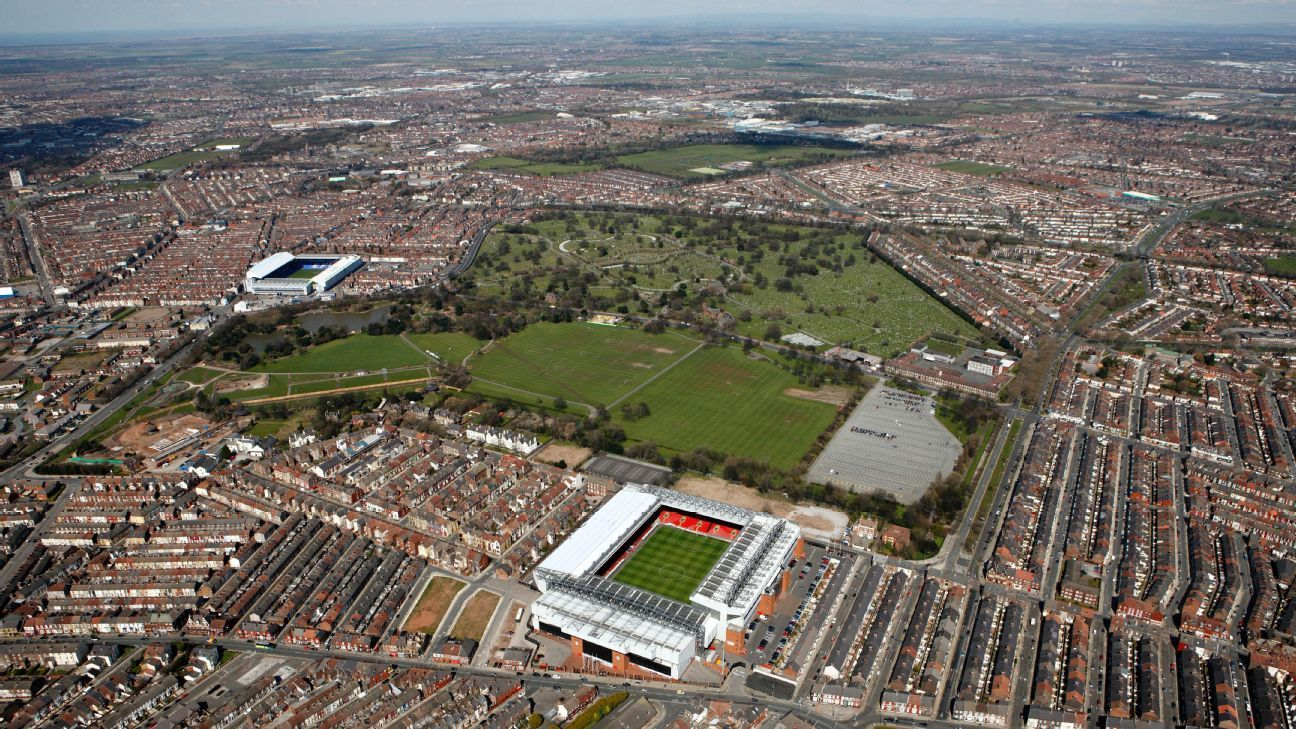 Liverpool's Anfield stadium and Everton's Goodison Park are separated by Stanley Park
