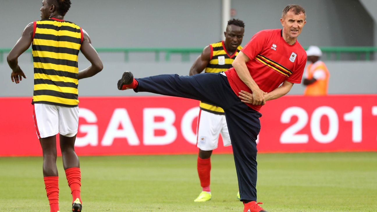 Milutin Sredojevic, Coach of Uganda leads his team through warm up during the 2017 Africa Cup of Nations Finals football match between Ghana and Uganda at the Port Gentil Stadium in Gabon on 17 January 2017
