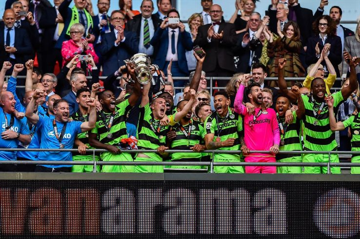 Forest Green Rovers celebrate after their 3-1 win over Tranmere Rovers at Wembley Stadium in May earned them a promotion into League Two, the bottom Football League tier.