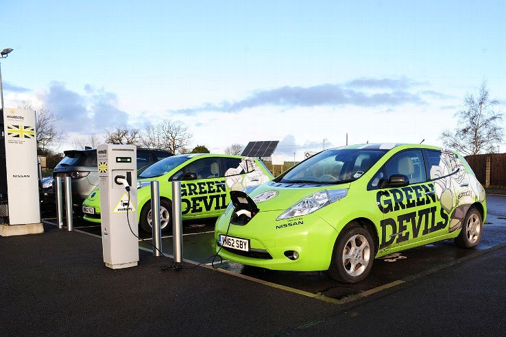 Charging stations for electric cars can be found outside The New Lawn, Forest Green's home stadium.
