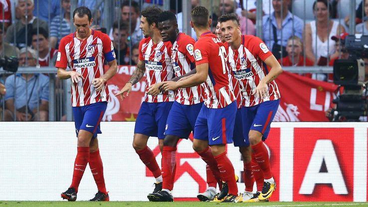 Atletico Madrid celebrate Fernando Torres' goal on Tuesday.