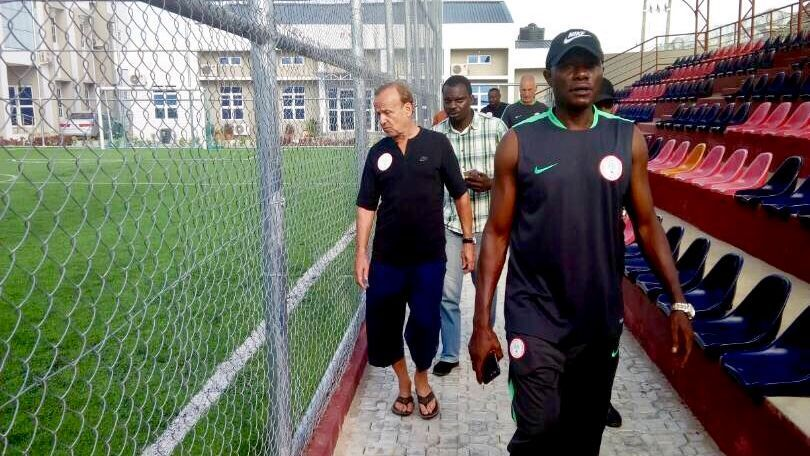 Gernot Rohr and his backroom staff visit Ahmed Musa's new training facility in Kano