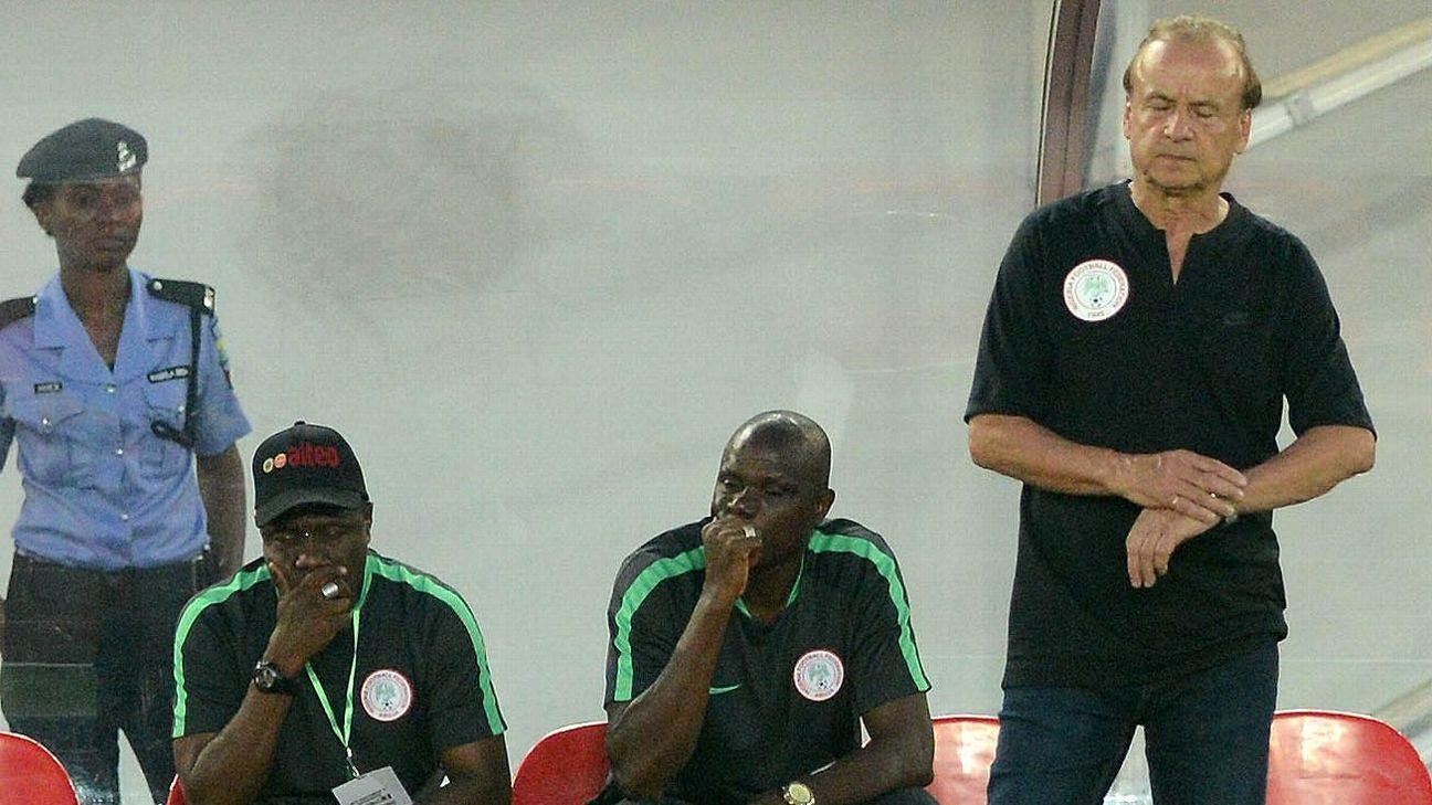 Gernot Rohr during the 2019 AFCON qualifier between Nigeria and South Africa.