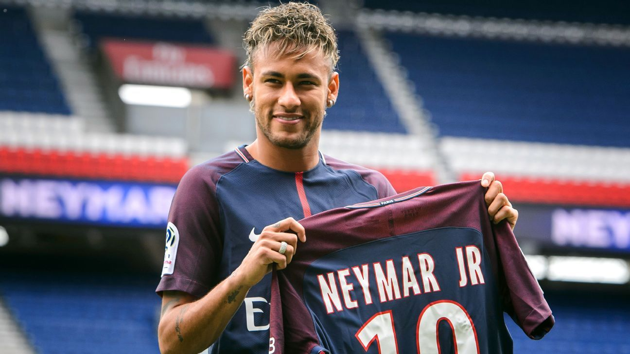 Neymar moved to PSG from Barcelona for €222 million.