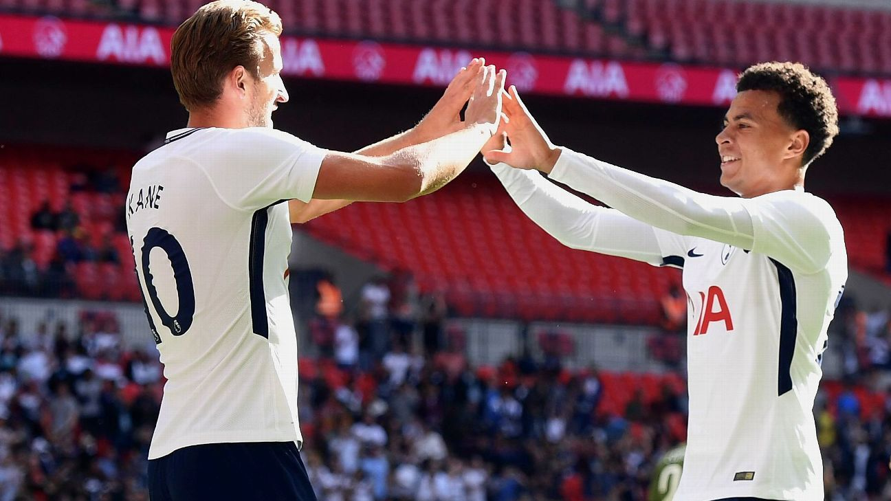 Harry Kane, left, set Tottenham on the way to victory against Juventus.