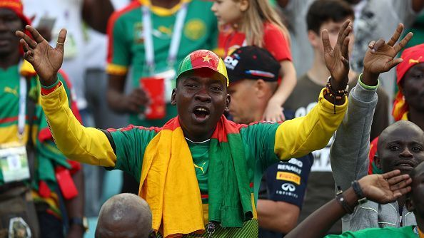 A Cameroon fan enjoys the match atmosphere prior to a FIFA Confederations Cup Russia 2017 Group B match.