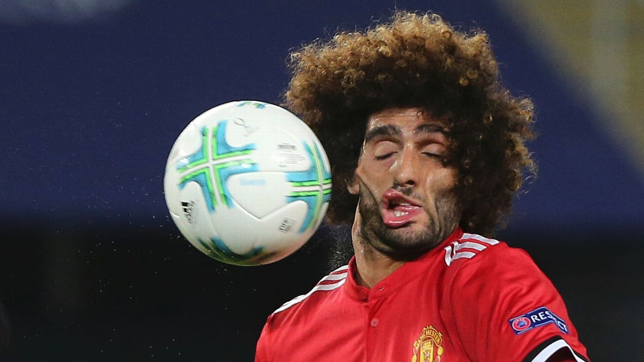 Fellaini takes ball to face vs Real 170808