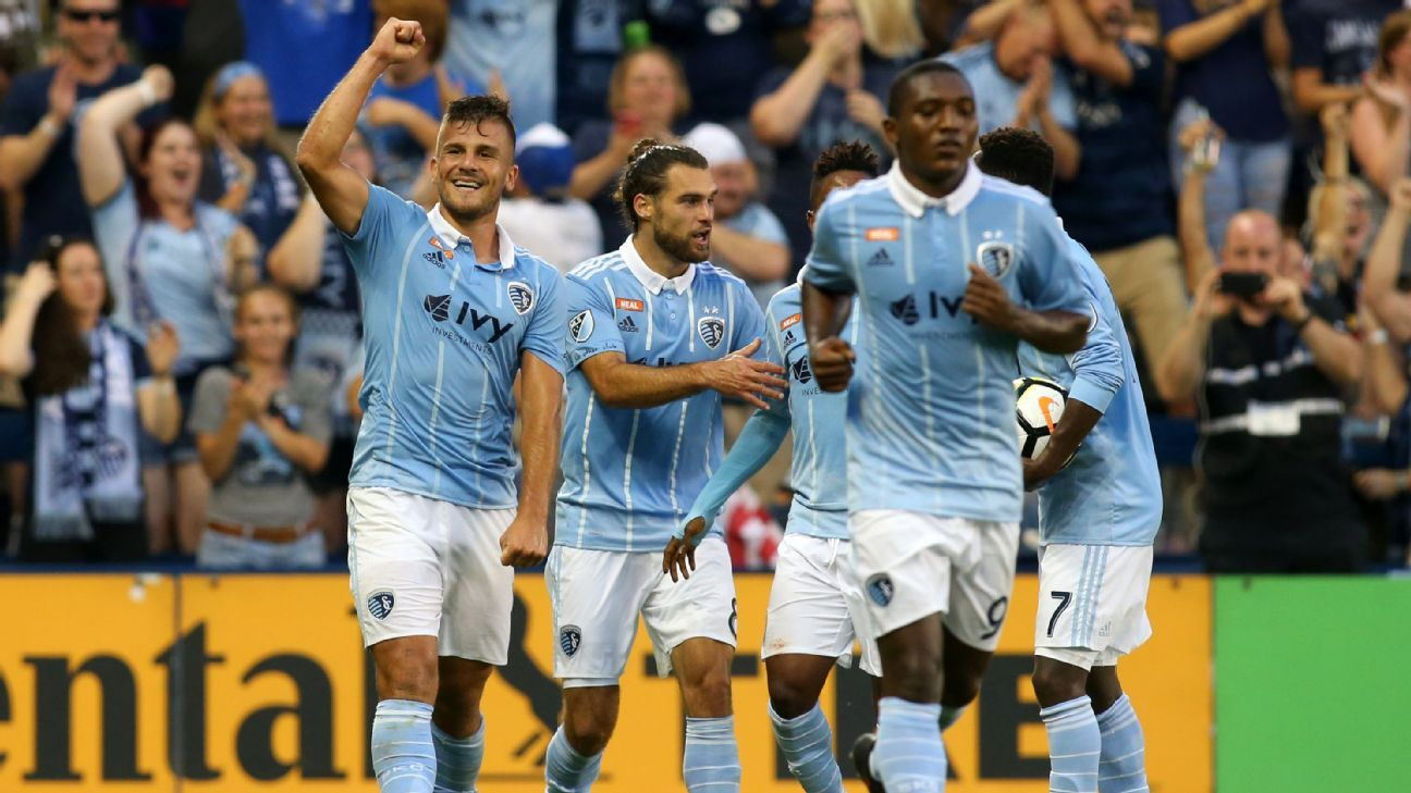 Sporting Kansas City players celebrate after drawing level with San Jose in the U.S. Open Cup semifinals.