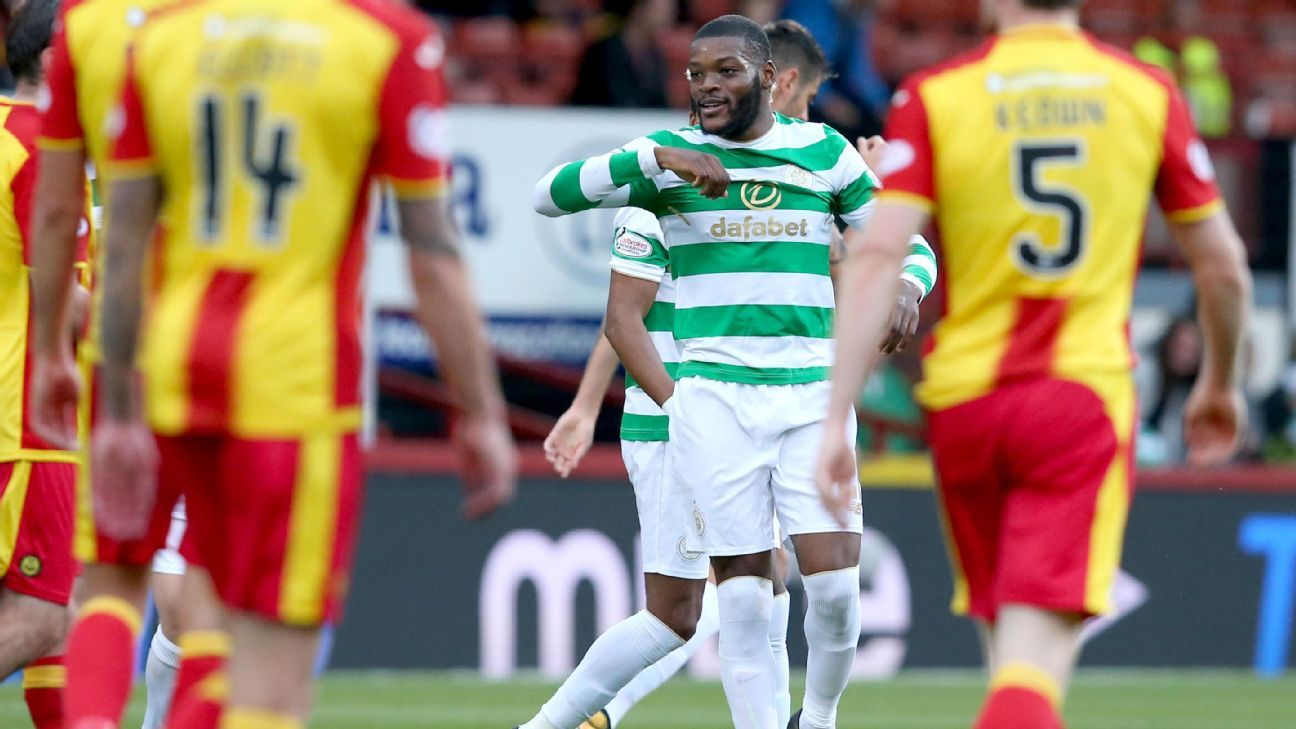 Olivier Ntcham celebrates after Celtic's only goal in a 1-0 win against Partick Thistle.