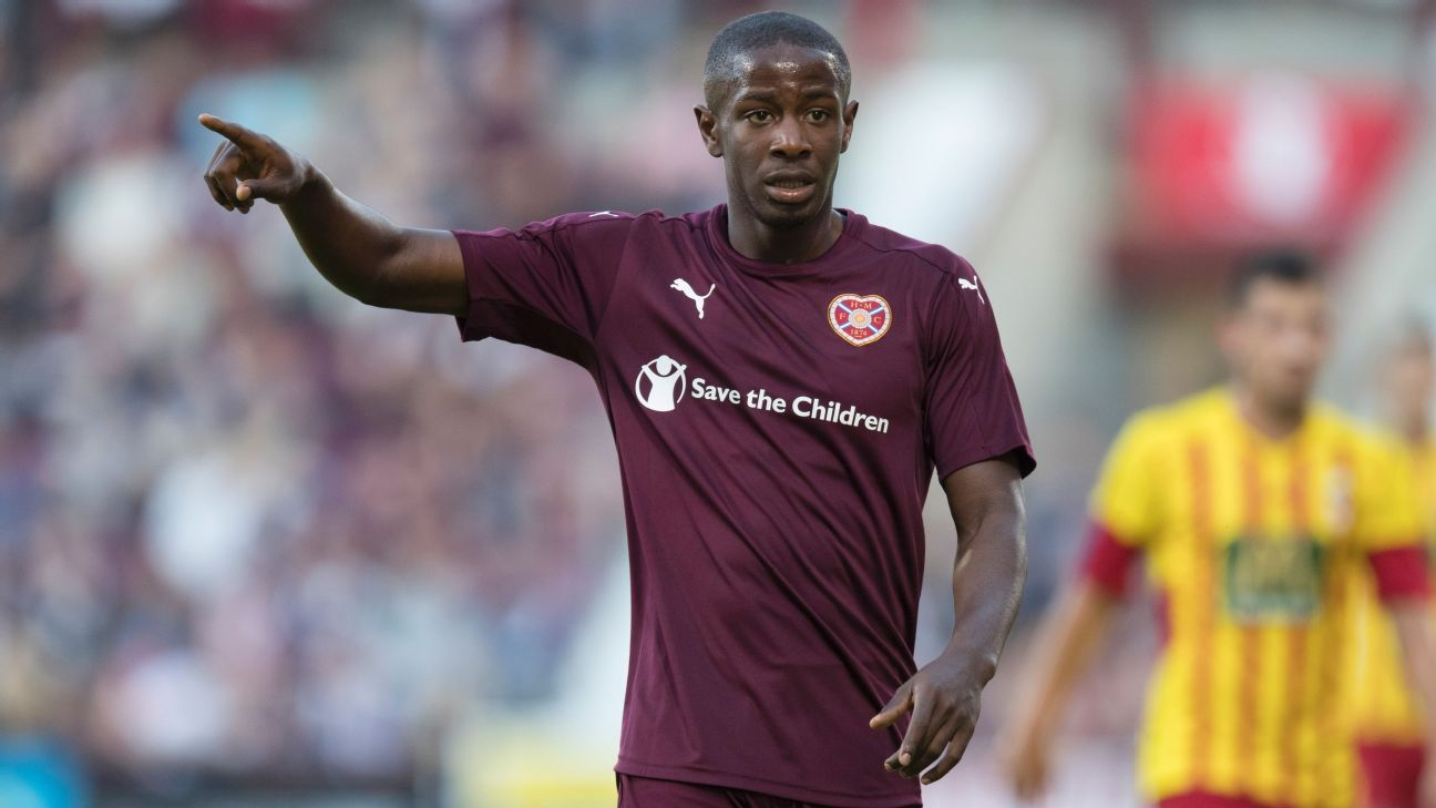 Arnaud Djoum of Hearts is a late bloomer in international football