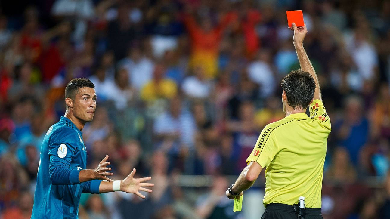 Cristiano Ronaldo was sent off against Barcelona in the Spanish Super Cup.