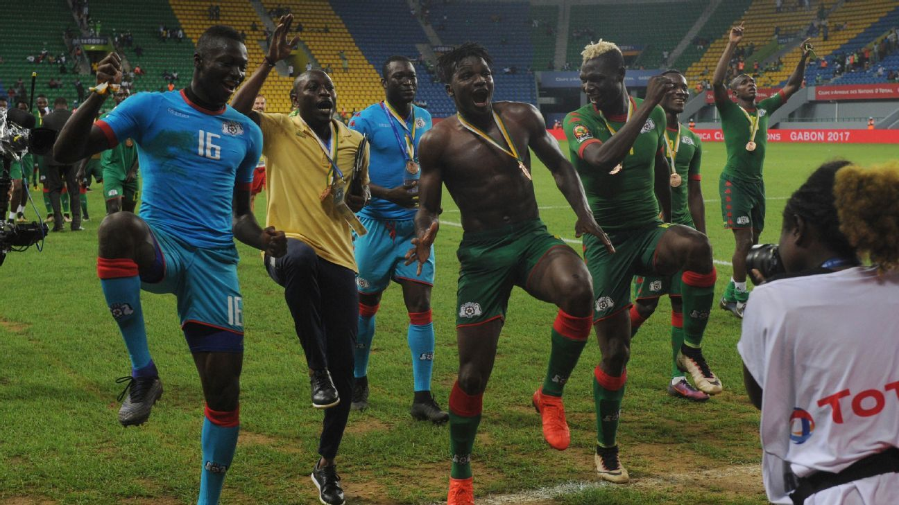 Burkina Faso national team celebrating