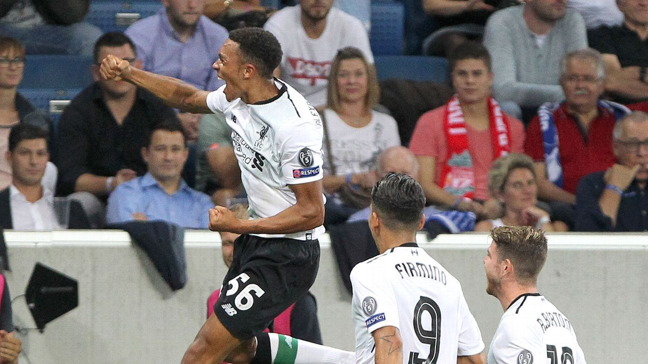Liverpool celebrate Trent Alexander-Arnold's goal.