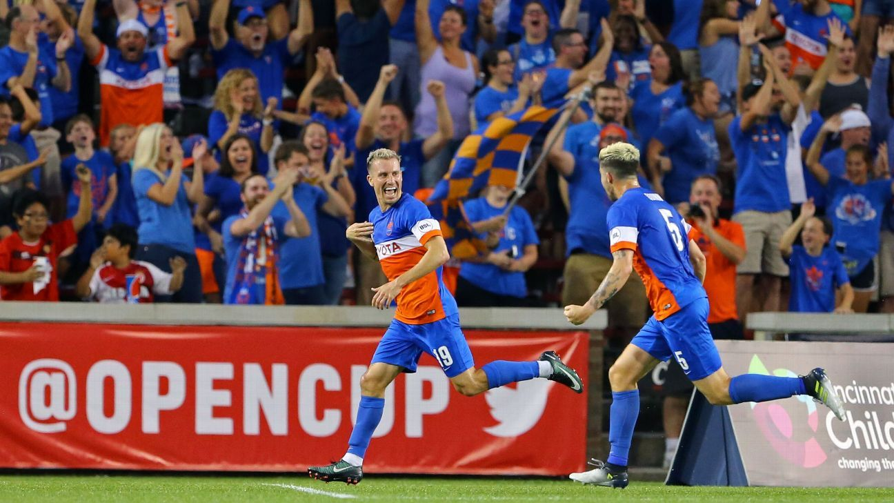 Corben Bone celebrates after opening the scoring for FC Cincinnati against the New York Red Bulls.