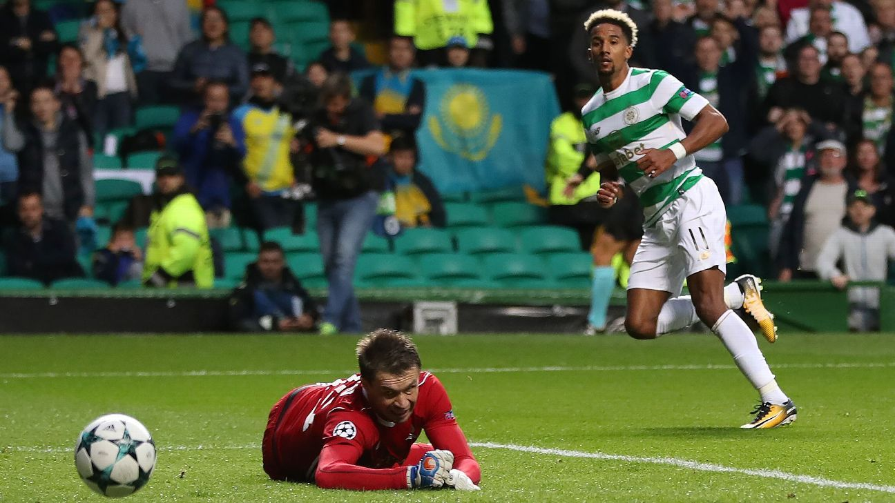 Scott Sinclair looks on after scoring Celtic's second goal in a 5-0 win against Astana in the Champions League.