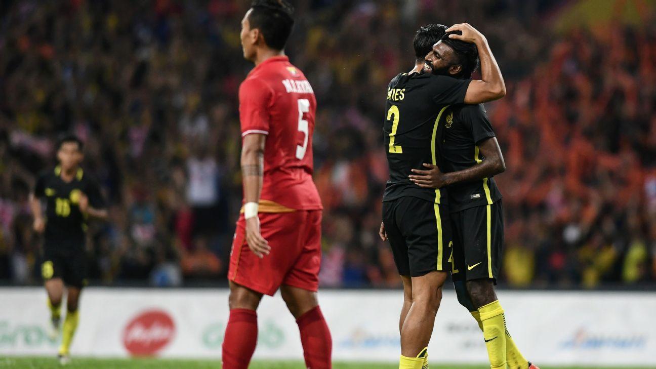 Malaysia forward Thanabalan goal v Myanmar in SEA Games
