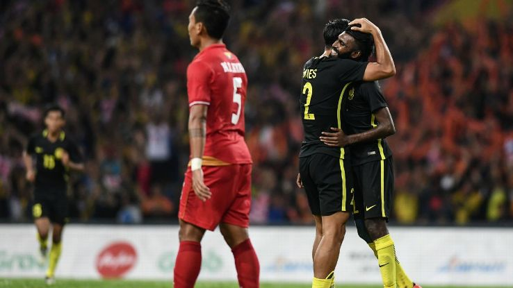 Malaysia forward Thanabalan goal v Myanmar in SEA Games