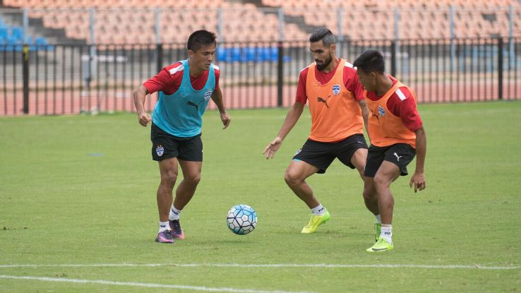 Sunil Chhetri in action with Dimas Delgado and Udanta Singh during a training session ahead of BFC's Inter-Zonal semifinal against 4.25 SC.