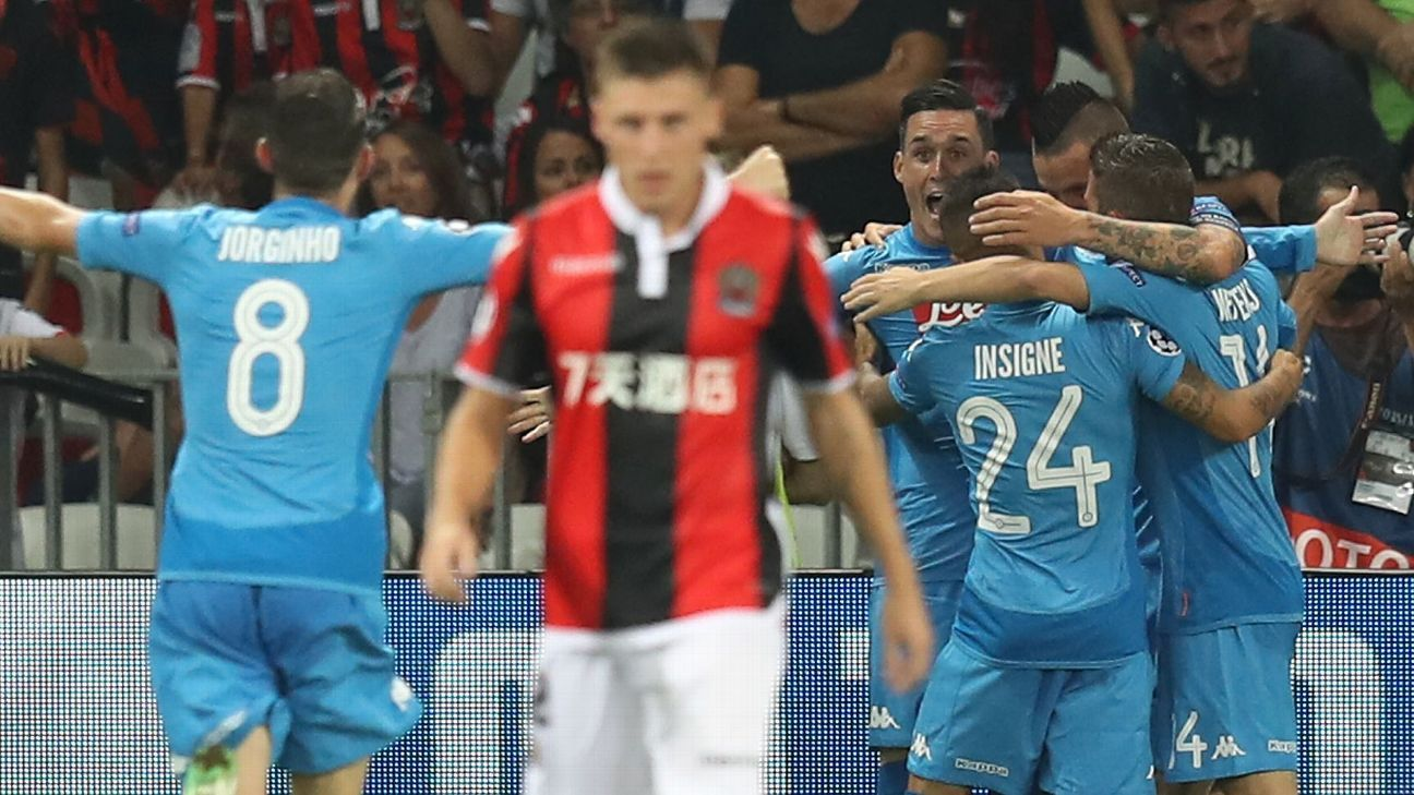Jose Callejon is congratulated by Napoli teammates following his goal against Nice.