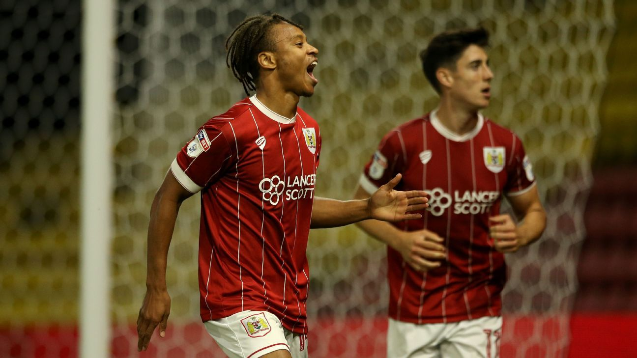 Bobby Reid of Bristol City celebrates after scoring his team's second goal against Watford.
