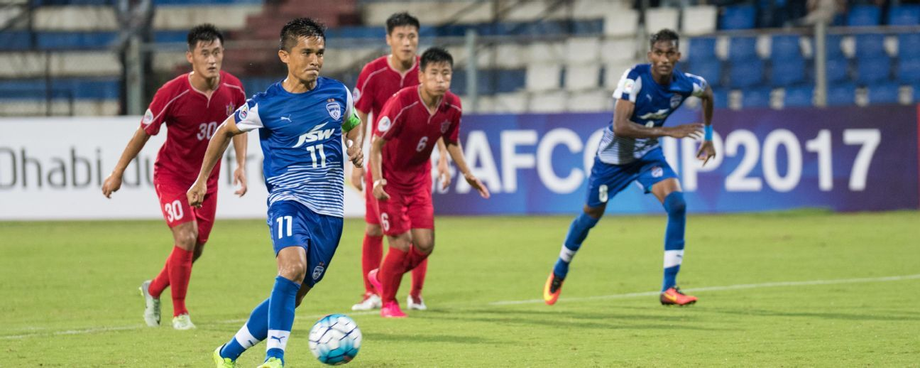 Sunil Chhetri sent Bengaluru FC into the lead with a Panenka penalty in the first half.