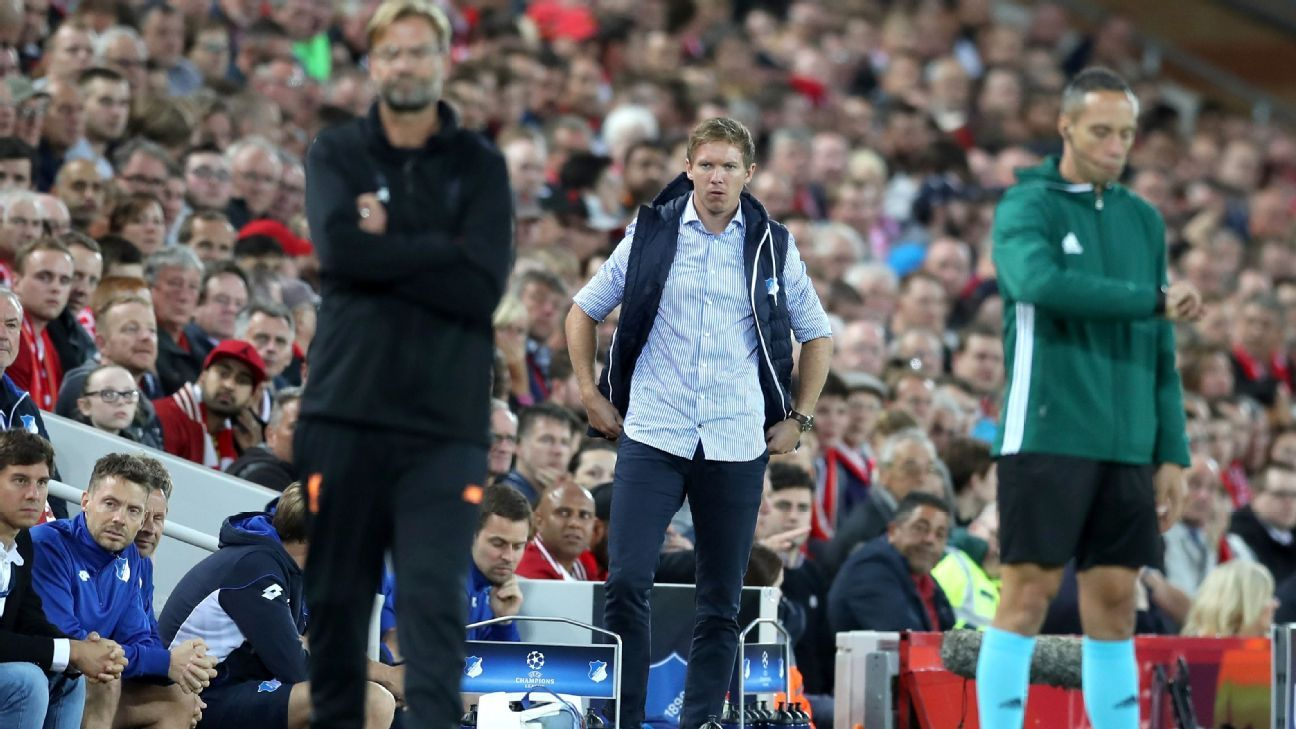 Julian Nagelsmann looks on during Hoffenheim's Champions League loss to Liverpool on Wednesday.